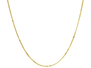 10k Yellow Gold Twisted Curb With Singapore Station 20 inch Chain Necklace