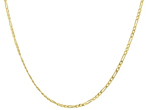 10k Yellow Gold Polished Figaro 18 inch Chain Necklace
