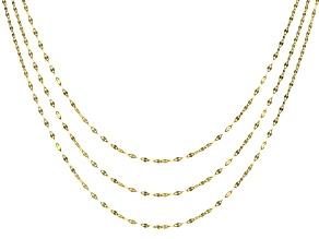 10k Yellow Gold Diamond Cut Mirror 18 inch 20 inch 24 inch Chain Necklace Set Of Three