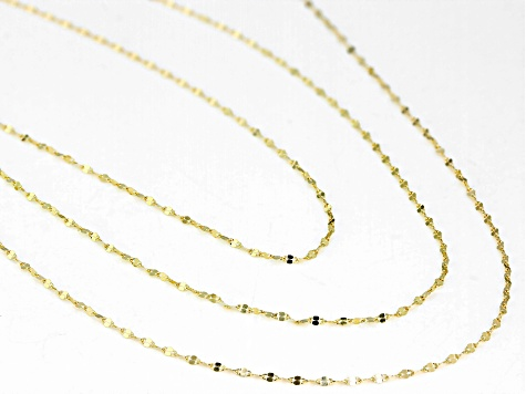 10k Yellow Gold Diamond Cut Mirror 18 inch 20 inch 24 inch Chain Necklace Set Of Three