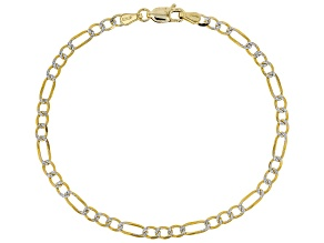 10k Yellow Gold With Rhodium Over 10k Yellow Gold Polished Figaro 7 1/2 inch Bracelet