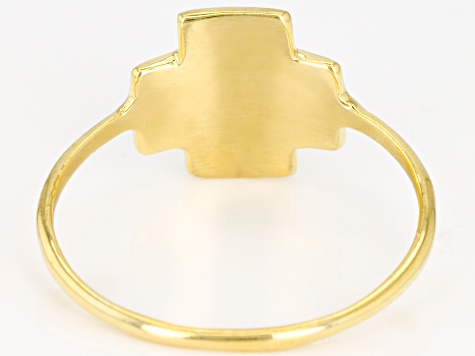 10K Yellow Gold and Alpha and Omega Cross Ring
