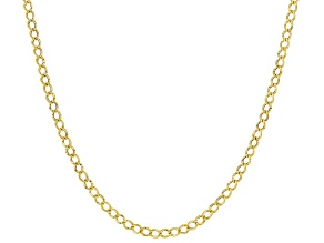 10k Yellow Gold Hollow Diamond Cut Curb 18 inch Chain Necklace