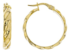 10k Yellow Gold Ribbon Tube Hoop Earrings 20mm