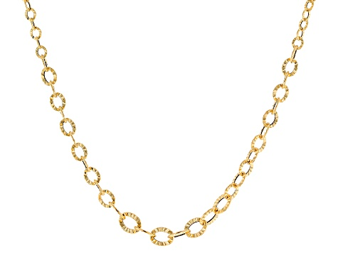10k Yellow Gold Hollow Diamond Cut Graduated Flat Rolo 18 inch Necklace