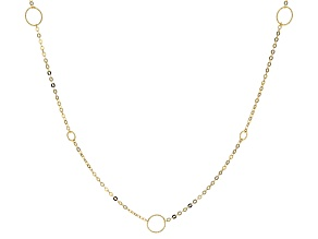 10k Yellow Gold Circle Station 24 inch Necklace