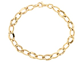 10k Yellow Gold Diamond Cut Curb 7 1/2 inch Bracelet.
