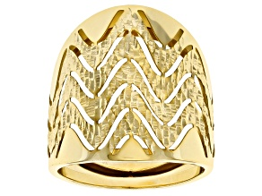 10k Yellow Gold Chevron Statement Ring