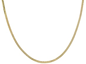 14k Yellow Gold Square Franco Link Chain Necklace 18 inch