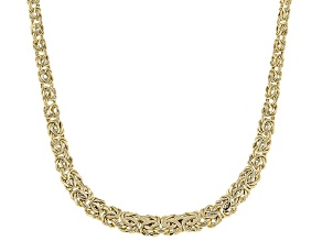 10k Yellow Gold 7mm Graduated Byzantine Chain Necklace