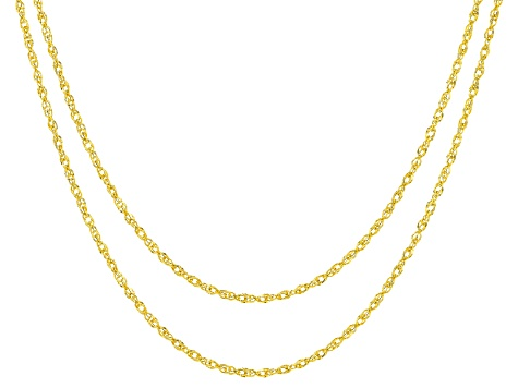 10k Yellow Gold Hollow Double Singapore Chain Necklace Set of Two 18 inch 22 inch