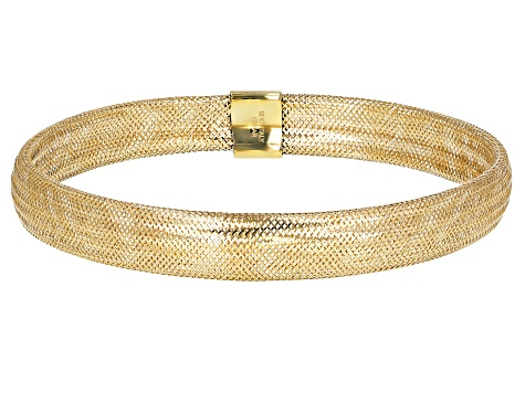 10k Yellow Gold Domed Mesh Bangle Bracelet 7.5mm