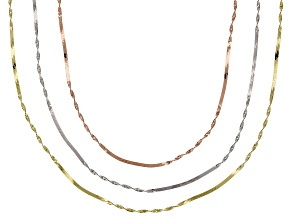 10k Yellow Gold White Gold Rose Gold Twisted Herringbone 18 inch Chain Necklace set of three