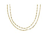 10k Yellow Gold Flat Cable 18 inch and 20 inch Chain Necklace set of two