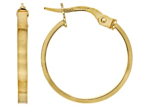 10k Yellow Gold 1.9mm Flat Tube Hoop Earrings