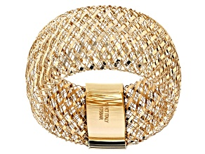 10k Yellow Gold 10.5mm Domed Mesh Stretch Ring