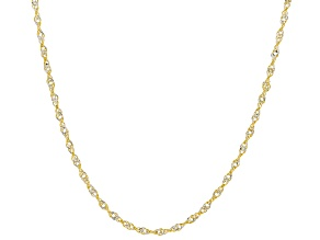 10k Yellow Gold and White Gold Singapore 18 inch Chain Necklace
