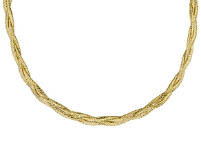 10k Yellow Gold Braided Omega 18 inch Necklace