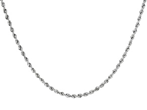 10K White Gold 1.5MM Diamond Cut Rope 18 Inch Chain