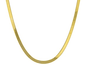 10k Yellow Gold Flat Herringbone 18 inch Necklace