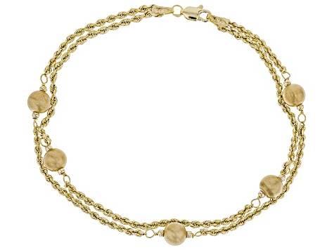 10k Yellow Gold Hollow Rope with Satin Bead Station 7 1/2 inch Bracelet