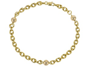 10k Yellow Gold Rope with Polished Bead 7 1/2 inch bracelet