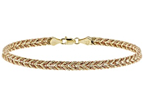 10k Yellow Gold and 10k Rose Gold Designer Woven Rope 7 1/2 inch Bracelet