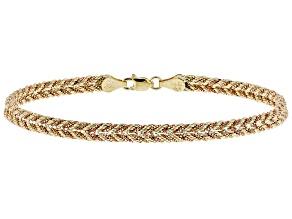 10k Yellow Gold and 10k Rose Gold Designer Woven Rope 7 1/2 inch Bracelet