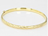 10k Yellow Gold Stripe Diamond Cut Bangle Bracelet