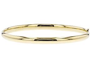 10k Yellow Gold Hollow High Polished Bangle Bracelet