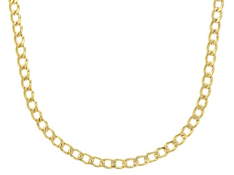 10k Yellow Gold 3.2mm Beveled Curb 20 inch Chain Necklace