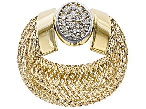 0.18ctw Diamond Simulant Round 10k Yellow Gold Medium Mesh Ring