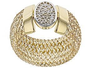 0.18ctw Diamond Simulant Round 10k Yellow Gold Large Mesh Ring