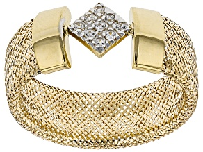 0.09ctw Diamond Simulant Square 10k Yellow Gold Medium Mesh Ring