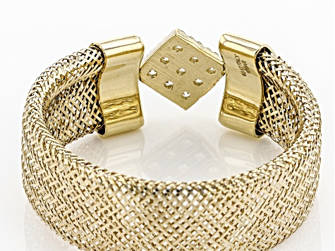 0.09ctw Diamond Simulant Square 10k Yellow Gold Large Mesh Ring