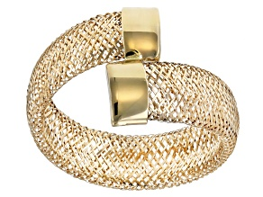 10k Yellow Gold Large Bypass Mesh Ring