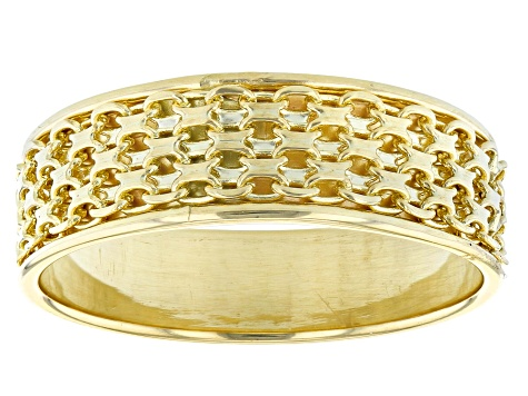 10k Yellow Gold Bismark Chain Band Ring