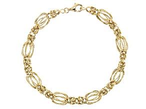 10k Yellow Gold Diamond Cut Designer Byzantine 8 inch Bracelet