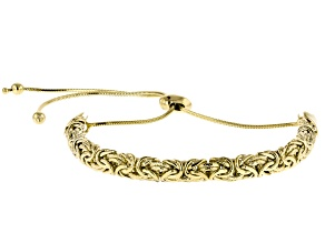 10k Yellow Gold Textured and Polished Byzantine Bolo Bracelet