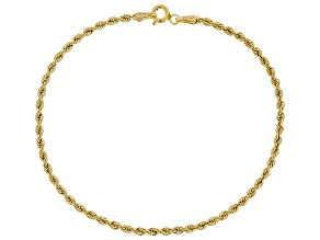 10k Yellow Gold 2.12mm Silk Rope 7 1/2 inch bracelet