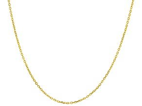 14k Yellow Gold 0.63mm Diamond Cut Rolo 18 inch Chain Necklace