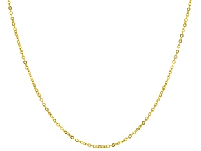 14k Yellow Gold 1.10mm Designer Flat Rolo 18 inch Chain Necklace