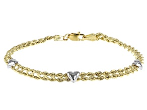 10k Yellow Gold and Rhodium Over White Gold Double Row Rope with Heart Station 7 1/4 Bracelet