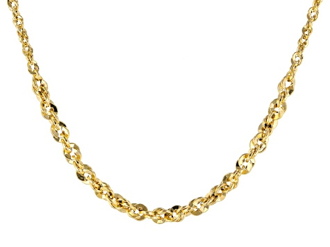 10k Yellow Gold 2MM Graduated Diamond Cut Rope 18 inch Chain Necklace