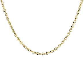 10k Yellow Gold Diamond Cut Rope 18 inch Chain Necklace