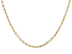 10k Yellow Gold Diamond Cut Rope 20 inch Chain Necklace