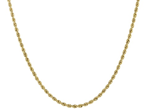 14k Yellow Gold 1.5MM Polished Rope 18 inch Necklace