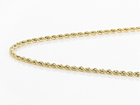 14k Yellow Gold 1MM Polished Rope 20 inch Necklace