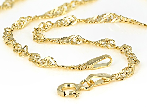 14k Yellow Gold Polished Singapore 20 inch Necklace