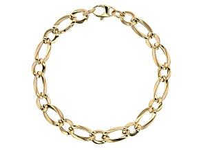 10k Yellow Gold Designer Figaro 7 3/4 inch Bracelet